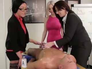 Femdom office babes dominate cock
