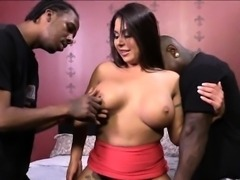 Booby whore Candi Coxx anal interracial sex with black men