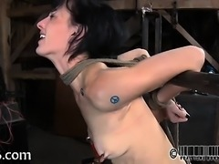 Adorable gal tears up during torment