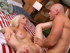 Long haired tattooed blonde Stevie Shae with natural boobs and thick ass gets...