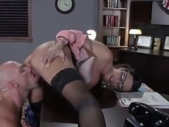 Johnny Sins loses control after busty bespectacled sexy MILF Ariella Ferrera...