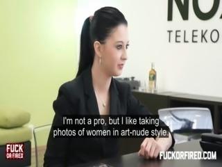 Teeny brunette fucks and sucks her boss free