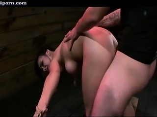 Brunette whore gets mouth and pussy screwed