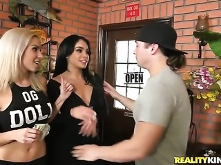 Brunette chachita with massive jugs and bald snatch wants mans fuck stick to...