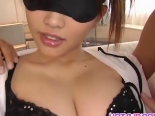 Threesome sex along Japanese milf