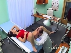 Doctor fucks nurse then patient in his fake hospital