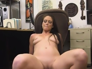 Brunette Amateur Getting Hammered In Pawn Shop Office