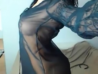 Busty brunette milf sexy dance on webcam