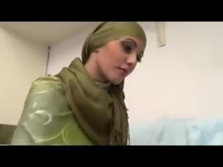 Hijab  Gorgeous Arab Muslim's first porno free