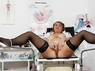 Naughty head practical nurse opening her handsome vag