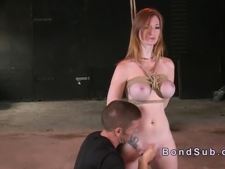 Tied up big boobs redhead fingered in dungeon