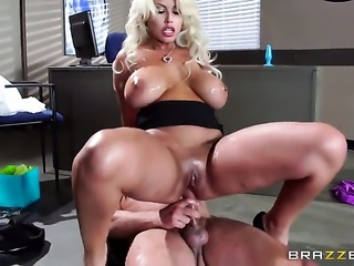 Senora Bridgette B with big breasts gets her back porch stretched by...