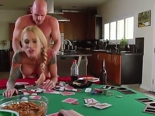 This hot and tattooed blonde porn star Sarah Jessie who likes cuckolding gets...