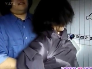 Japanese milf has hairy crack roughly screwed by two dudes