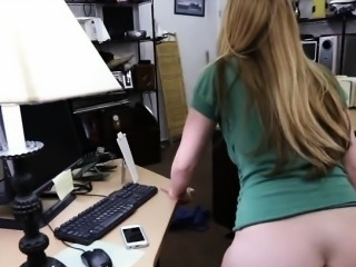 Hot blonde pawns her pussy and nailed in the back office