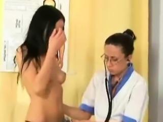 Little shy brunette gets soaking wet with the nurse