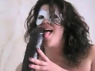 Masked BBW With Her Huge Black Dildo