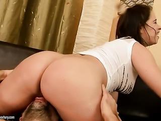 Olga Cabaeva plays with hard cock