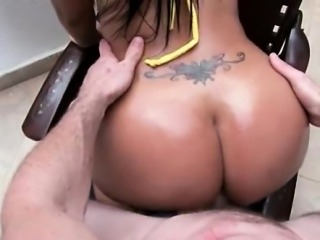 Oily ass hooker pumped on the stairway