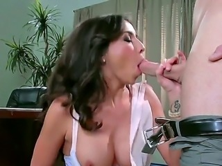 Stephani and johnny sins in a sex scene. She is wearing slutty black...