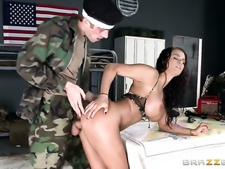 Huge tits Peta Jensen humped on table