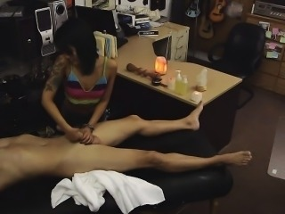 Asian Giving Handjob And Sucking Dick In Pawn Shop Office