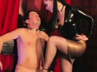 Glam british dominatrix trampling subs cock