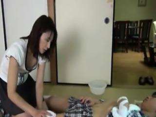Japanese mother subjected to careful nursing