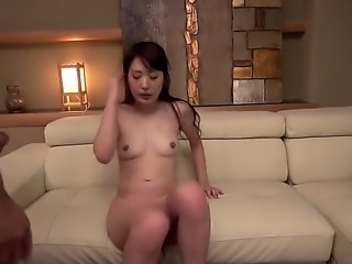 Small titty Japanese MILF spreads her legs and gets her bush fucked balls...