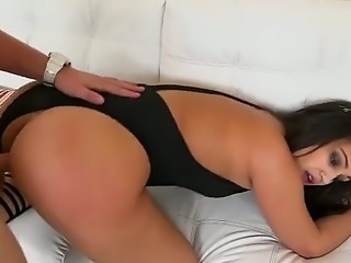 Latina babe with a big ass is wearing a bikini and she bends over and gets on...