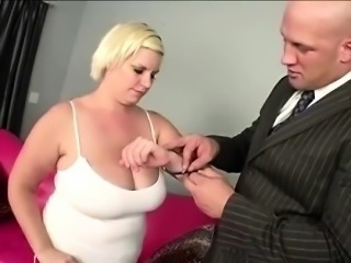Hung businessman helps big boobed blonde BBW to sexercise