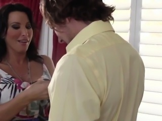 Busty milf Lezley Zen jerking in trio