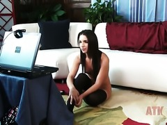 Brunette Giselle Leon with tiny tits and smooth beaver masturbates with big...