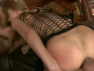 Nasty girl Kery Miller gags on fat cock and  gets her asshole pounded at the...