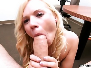 Blow job by blonde Yasmine with small tits