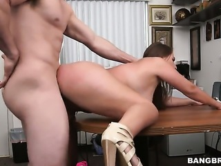 Busty girl is receiving some cock
