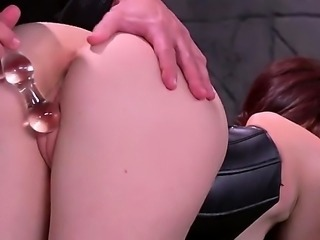 Brunette with a really big ass, Mandy Muse, is in black lingerie, black...