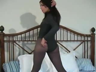 Captivating view of horny slit in transparent pantyhose