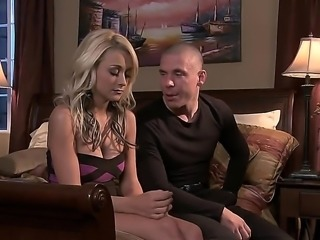 Fine looking blonde Briana Blair in high heels gives stunning blow job to her...