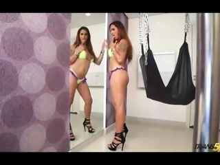 Hot Latin shemale makes her debut with dildo-ass-stuffing