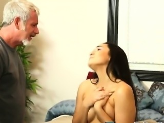 Young prostitute Paisley Parker massages stepdaddys big dick