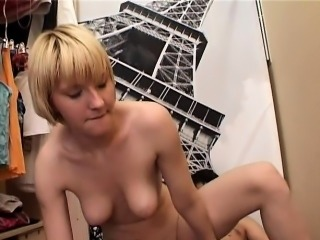 Playgirl stands doggy fashion feeling fat rod in her twat