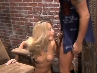 Amazing blonde is naked in this video. She is giving a blow job and is also...