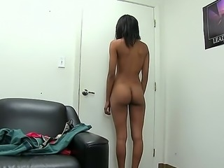 Skinny girl Isabella Pena with tan mocha skin shows every inch of her body in...
