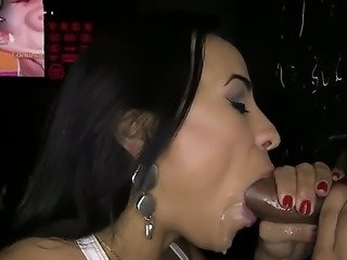 Becca Diamond is in a glory hole and she is surrounded by 4 cocks. She is...