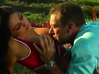 Audrey Bitoni gets her mouth stretched by thick hard boner of horny bang buddy