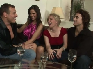 Syren De Mer and another hotwife swap husbands in bisexual foursome. Man...