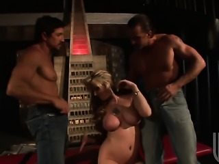 Blonde is in a threesome