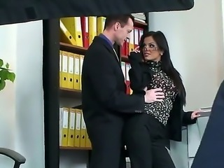 Black Angelika is in the office and she is getting a hard cock up her ass....