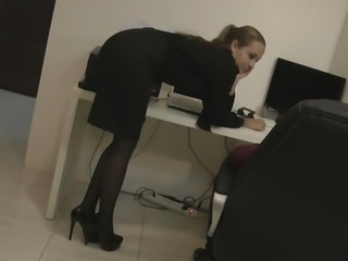 Hot blonde secretary in pantyhose